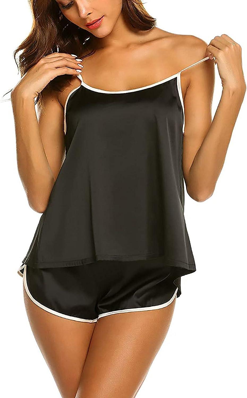 Women's Lace Trim Satin Sleepwear Cami Top and Shorts Cami Pajama Sets Set Sexy Ice-Silk Lingerie 2PCS Nightwear