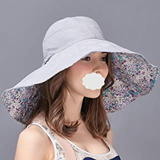 Mini personality baseball cap Sun hat summer sun hat women wear wide-brimmed soft-sided double-sided foldable foldable travel -3 color optional (Color : Light Blue)