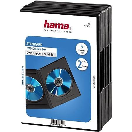 Hama DVD Double Jewel Case - Funda DVD (Capacidad: 2 Discos, 5 Unidades), Negro
