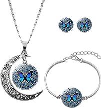 ?? AIUSD Clearance ??, Vintage Metal Print Butterfly Set Necklace Bracelet Earrings Ladies Jewelry