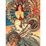 Wee Blue Coo Painting Mucha Nouveau Woman Spring Floral Art