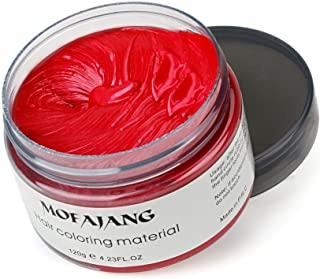 Red Instant Hair Color Wax, Qiyuxow Temporary Hair Dye Creme Coloring Material, Quick Dry Easy Wash for Daily use Festivals Parties Stag & Hen Events Clubbing Raves Halloween & Fancy dress