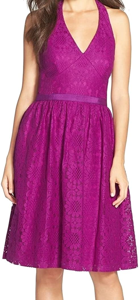 Maggy London Women's Sunflower Scroll Lace Halter Fit & Flare