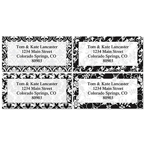 Elegant in Black Personalized Return Address Labels – Set of 144, Large, Self-Adhesive, Flat-Sheet Labels with Border (4 Designs), by Colorful Images
