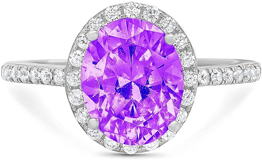 Clara Pucci 2.96 Brilliant Oval Cut Solitaire Accent Halo Stunning Genuine Flawless Natural Purple Amethyst Gem Designer Modern Ring Solid 18K White Gold