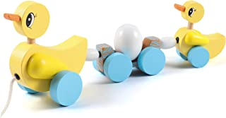 Lewo Pull Along Toy Wooden Duck with 1 Egg Push Pull Walk Along Toy Early Educational Toys for Baby Toddlers Boys Girls