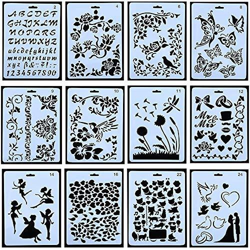 Schablonen zum Zeichnen, Malen, Kunststoffformen, Schablonen für Kinder, Scrapbooking, Bastelzubehör, 12 Stück