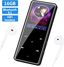 SOOTEWAY MP3 Player with Bluetooth 4.1, 16GB Music Player Portable Lossless Sound Bluetooth mp3 Player with FM Radio Recorder Touch Button, Support up to 128GB (Headphone, Data Cable) (Black)
