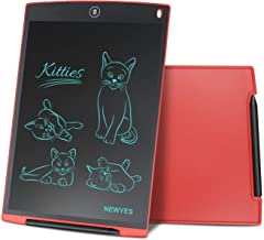 NEWYES 12 Pulgadas Tableta Gráfica, Tableta de Escritura LCD, Portátil para Hogar, Escuela, Oficina, Incluye 1 lápiz, 2 imanes para Nevera,1 Año de Garantía (Rojo)