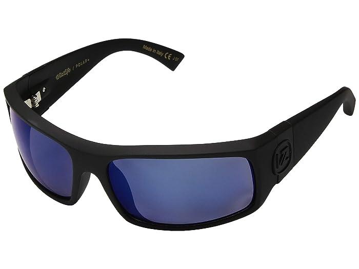 VonZipper  Kickstand (Black Satin Wild Blue Chrome Polarized Plus) Fashion Sunglasses
