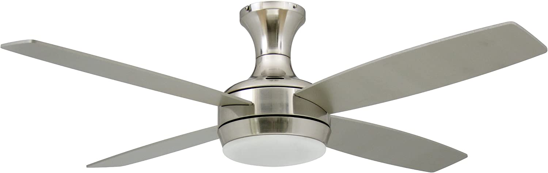 Deckenventilator mit Beleuchtung und Fernbedienung Saturn, Nickel satiniert, Flügel Pinie und Silber, 132 cm