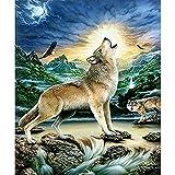 LLXPDZ Bricolaje hecho a mano digital pintura al óleo set decoraciones de regalo para adultos ni?os principiantes amantes de la pintura Lobo Sin marco 40x50cm