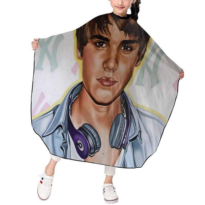 最新の人気ヘアカットエプロン 子供用ヘアカットエプロン120×100cm アイドルミュージックJustin Bieberジャスティンビーバー 柔らかく、軽量で、繊細なポリエステル生地、肌にやさしい、ドライ