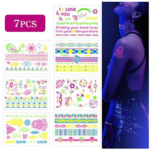MOOKLIN 7 Blätter Temporäre Tattoos Wasserdicht Tätowierung Aufkleber Tattoos Sticker Fingertattoo Armband für Frauen Jugendliche Mädchen Body Art UV Party & Festivals (Leuchtende unter UV Licht)