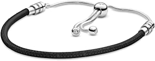 Pandora Moments Women's Sterling Silver and Leather Cubic Zirconia Leather Bracelet for Charms, Size 28