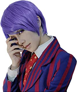 Anogol Free Hair Cap+ Short Layered Anime Cosplay Wig for Christmas Carnival Dress Up Play Party Men's Costume Wig