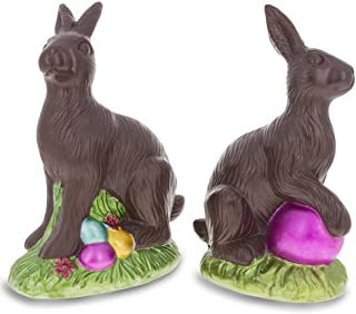 BestPysanky Set of 2 Chocolate Bunnies with Easter Eggs Figurines 5.5 Inches