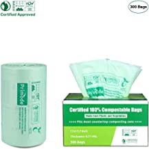 100% Compostable Bags By Primode, 3 Gallon Food Scraps Yard Waste Bags, Extra Thick 0.71 Mil. ASTMD6400 Biodegradable Compost Bags Small Kitchen Bags, Certified by BPI and TUV - 300 Bags