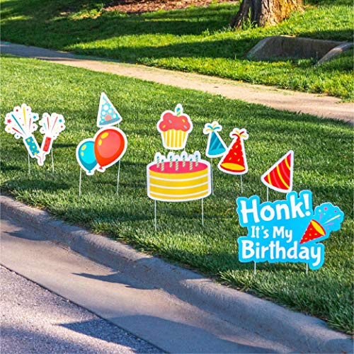 Lawn Joy Happy Birthday Yard Signs with Stakes - Honk Its My Birthday Outdoor Quarantine Social Distancing Decorations for Girls and Boys (8 Piece Set)