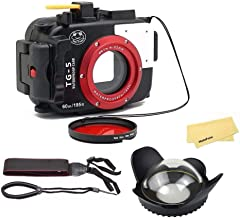 Seafrogs Waterproof case for Olympus TG-5, with Dome Port and Full Color Red Filter Kit, Underwater Camera Housing Case/ 6...