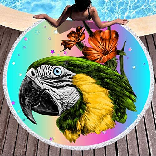 Animal Parrot toalla de playa alfombra popular redonda manta de picnic alta resistencia de color, blanco, 59 inch