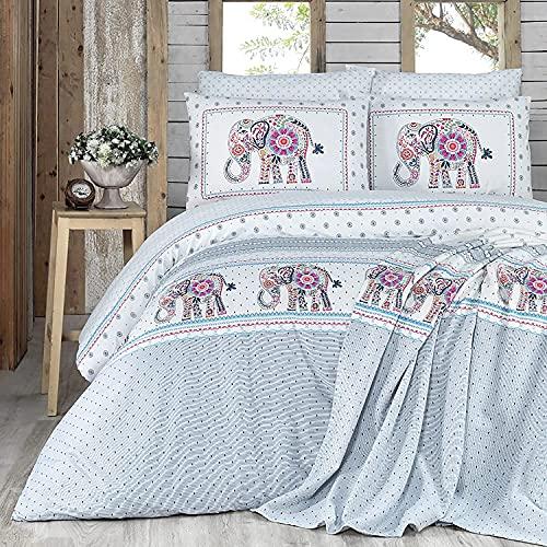 Karaca Home Felicia Bettwäsche 135x200 Baumwolle, 5-teilig, 1 Bettlaken 240x260cm + 1 Bettbezug 200x220cm + 2 Kissen 80x80 50x70cm + 1 Pique 210x230cm, 100% Baumwolle