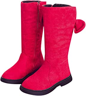 Hopscotch Girls Cloth Bow Ankle Length Boots in Red Color