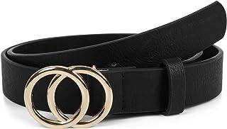 styleBREAKER Cinturón de dama unicolor con hebilla de anillo, cinturón de cadera, cinturón de cintura, cinturón sintético,...