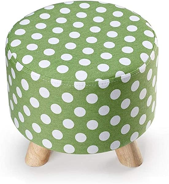 Carl Artbay Wooden Footstool Green Wave Point Round Three Footstool Can Be Washed And Washed Change The Shoe Stool Cloth Home