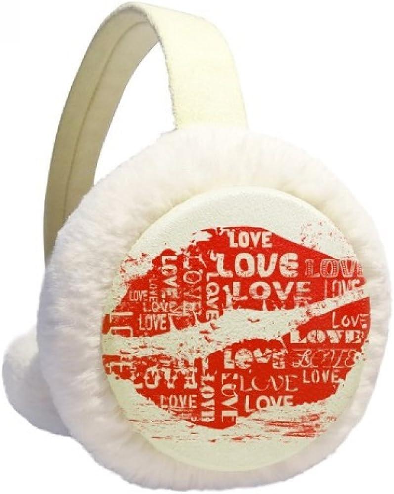 Valentine's Day Red Lip Love Winter Ear Warmer Cable Knit Furry Fleece Earmuff Outdoor