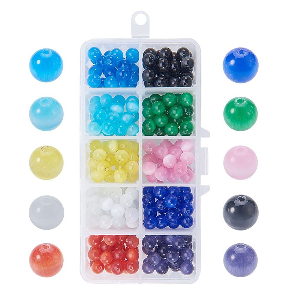 NBEADS 1 Box 8mm 250 Pcs Cat Eye Glass Beads Natural Gemstone Round Loose Stone Beads for Jewelry Making and Craft