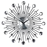 yunli HOT SALE 33CM Metal Art Clock Luxury Acrylic Diamond Large Modern Wall Clock 3D