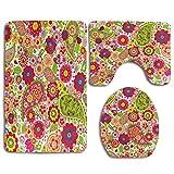 N\A Poppy Paisley Flower Ladybug Alfombra de baño Set 3PCS Alfombra de baño Antideslizante Contorno, tapete y Tapa de Inodoro