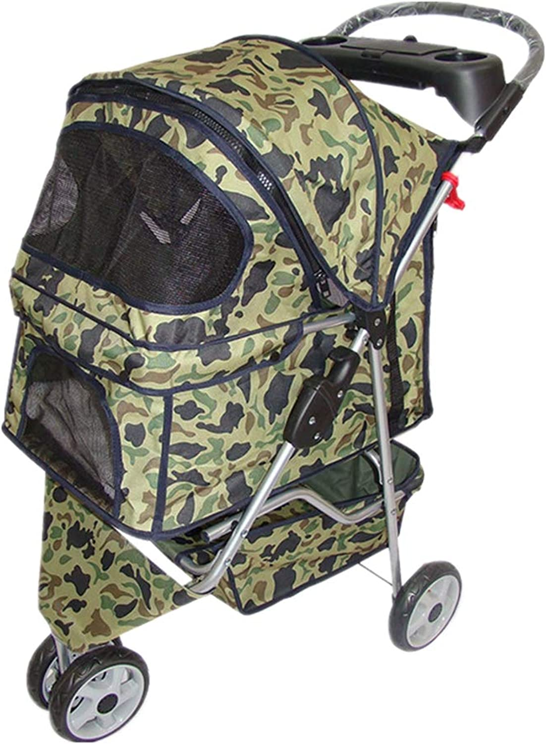 Pet Travel Stroller Breathable Cat Dog Pushchair Trolley Puppy Jogger Carrier Three Wheels Can Accommodate 20kg Pets