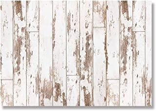 Allenjoy 7x5ft White Wood Wall Backdrop Rustic Wooden Floor Background for Newborn Photography Birthday Party Banner Photo Studio Shoot Props