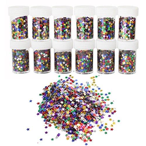 ROSENICE Glitter Konfetti mit Sternen 12 Flaschen DIY Pailletten Sternenkonfetti Glitzer Deko für Kinder Nagelkunst und Handwerk