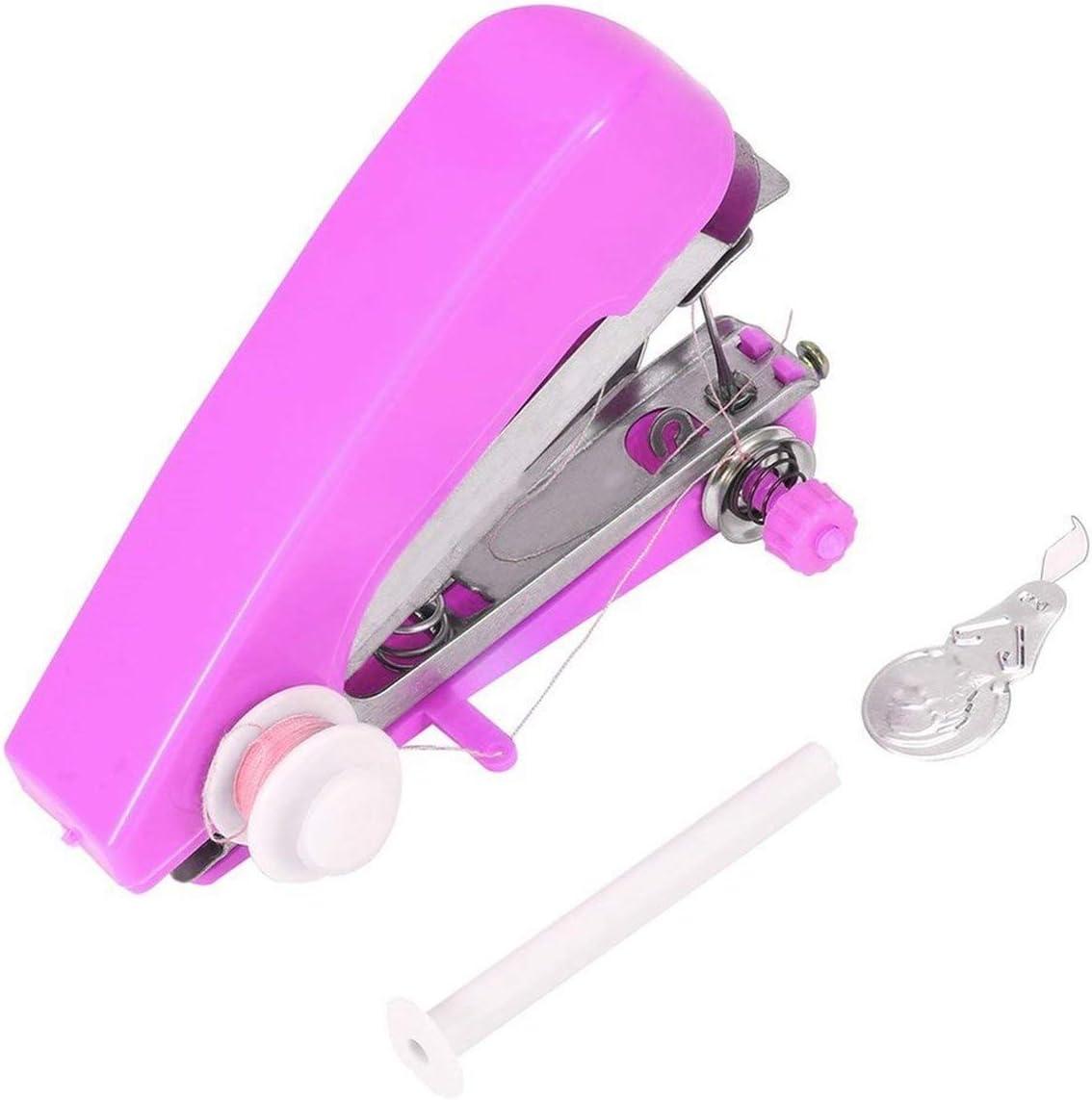 Inicio Uso Esencial para Viajes Mini portátil DIY Costura Máquinas de Coser a Mano inalámbricas Telas de Ropa de Mano Máquina de Coser eléctrica - Entrega aleatoria