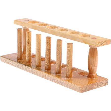 6穴 0.87インチ 試験用木管 試験管ラック 高品質 生木材 試験管 比色管 化学実験中
