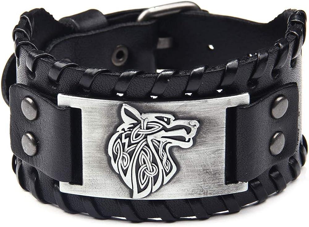 TURTLEDOVE Viking Bracelet Wolf Fenrir - Vintage Nordic Scandinavian Talisman - Gothic Bracelet for Celtic Pagan: Jewelry