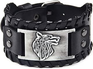 Viking Bracelet Wolf Fenrir - Vintage Nordic Scandinavian Talisman - Gothic Bracelet for Celtic Pagan (Wolf Silver)