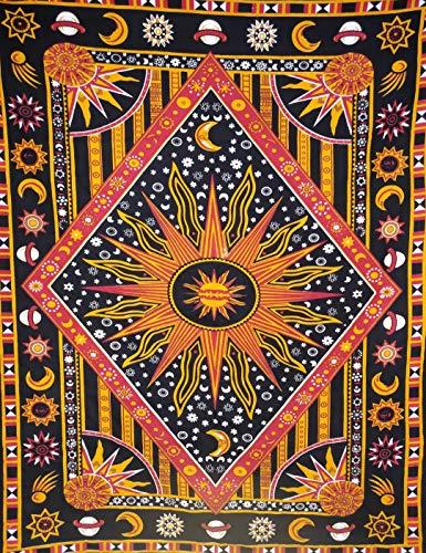 ICC brandende zonnebinding, kleurstof, wandtapijt, hemel, zonmaan, planeet, boheemse wandophanging, hippie hippie tapijt…