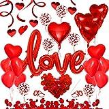 49pcs Ballon Rouge Kit, Ballons Décoration Romantique, Ballon Love XXL, Coeur de Ballons, Pétales, Fixés pour Mariage Anniversaire de Mariage et Fiançailles Décoration