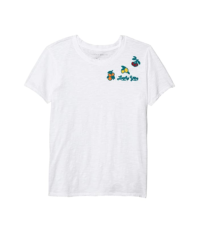 Lucky Brand  Short Sleeve Crew Neck Embroidered Fruit Tee (Lucky White) Womens Clothing