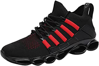 Men Fashion Wild Breathable Sneakers, Male Air Cushion Lace up Sports Shoes None-Slip Casual Shoes