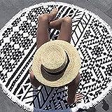 Queta Mandala Tapisserie, tapis de yoga indien, serviette de plage ronde, couverture de plage ronde à franges