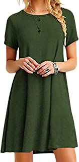 Women Summer Casual T Shirt Dresses A Line Swing Simple Multicolor Mini Dress Plus Size
