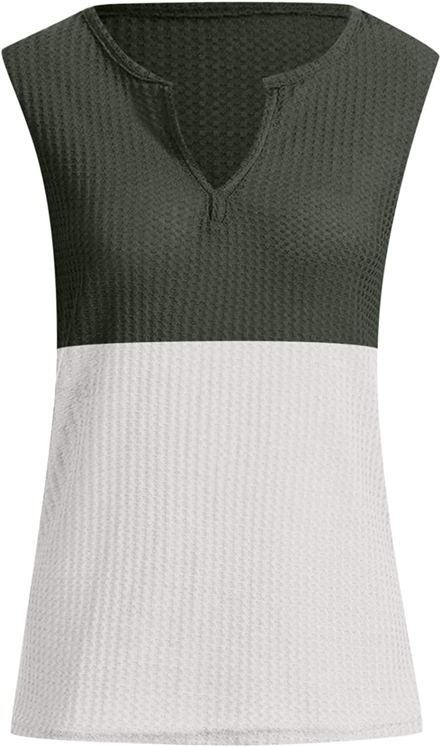 Summer Tops for Women Plus Size,Womens Tanmk Tops Casual Sleeveless V Neck Button Up Waffle Knit Tunic Henley Shirts