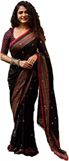 GoSriKi Women's Jute Silk with Blouse Piece Embroidery Sarees
