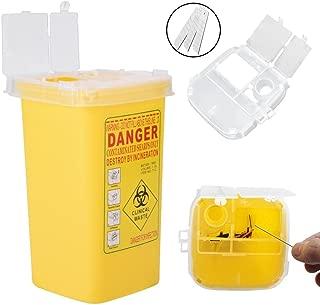 Contenedor de plástico, Contenedor de objetos punzantes, caja plástica del desecho del tamaño 1L del envase biológico peligroso, resistente a los pinchazos del tatuaje(Amarillo)
