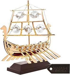 Matashi 24k Goldplated Viking Ship Made with Genuine Crystals